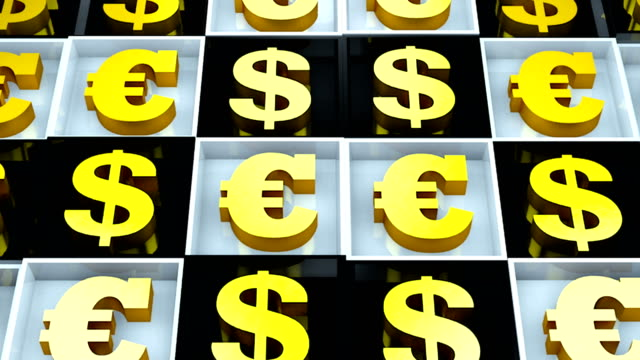 Abstract background with euro sign and dollar on black and white cubes video