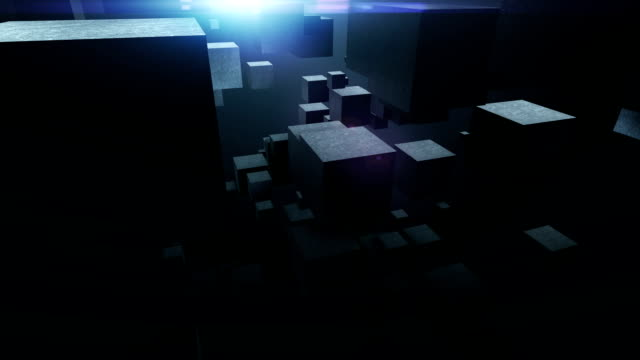 abstract background with flying cubes. loop video