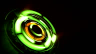abstract background with rotating green lens, loop video