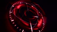 abstract background with rotating red clock, loop video