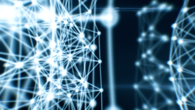 Abstract Beautiful Network Animation. Dots connecting. Looped. HD 1080. video