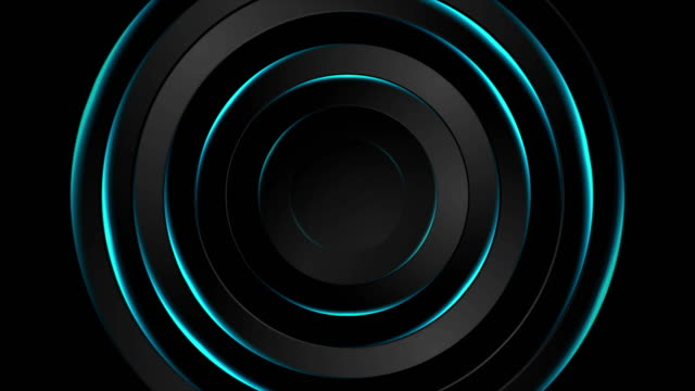Abstract black and neon glowing blue circles video animation video