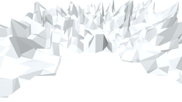 Abstract black and white low poly waving 3D surface as landscape or crystal structure. Grey abstract geometric vibrating environment or pulsating background. Free space video