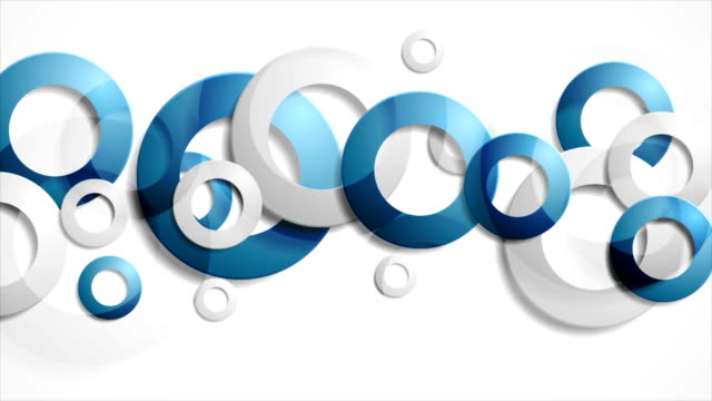 Abstract blue grey rings corporate animated background video