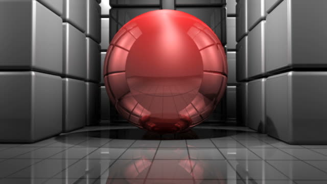 Abstract box room with red moving ball video