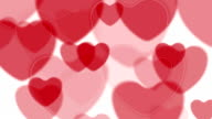 Abstract bright red hearts video animation video