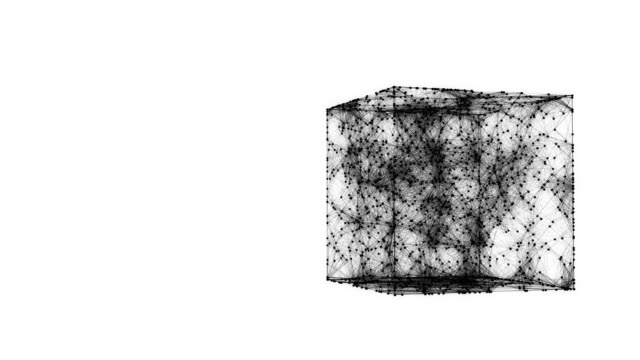 Abstract chaotic geometric composition from dots and lines in the cube on white background 4K video
