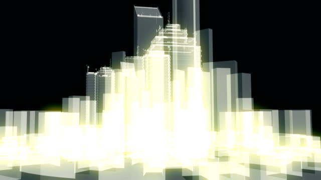 Abstract city element or buildings in wireframe or line stile video