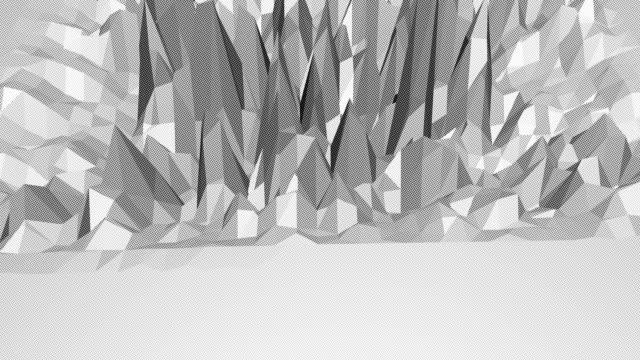 Abstract clean black and white low poly waving 3D surface as cartoon background. Grey geometric vibrating environment or pulsating background in cartoon low poly 3D design. Free space video