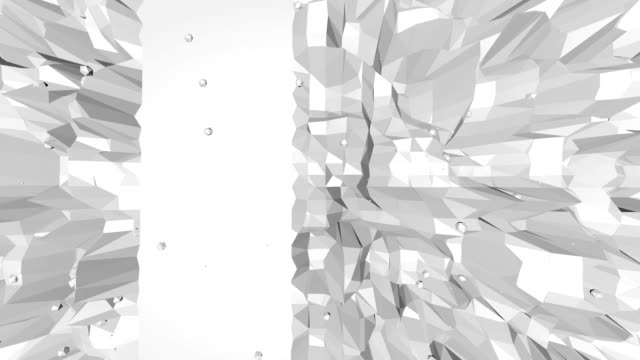 Abstract clean black and white low poly waving 3D surface as elegant environment. Grey geometric vibrating environment or pulsating background in cartoon low poly 3D design. Free space video