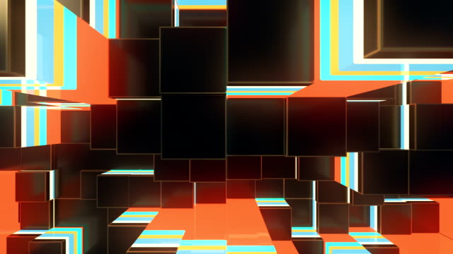 Abstract colored cubes move. Loopable 3d animation background. video