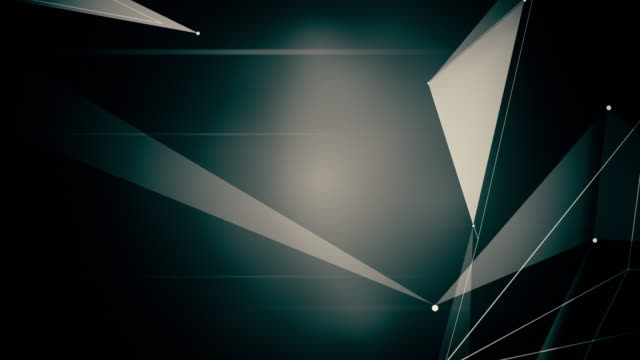 Abstract computer generated seamless loop abstract geometrical motion from chaotic slow moving dots, lines and triangles background. video