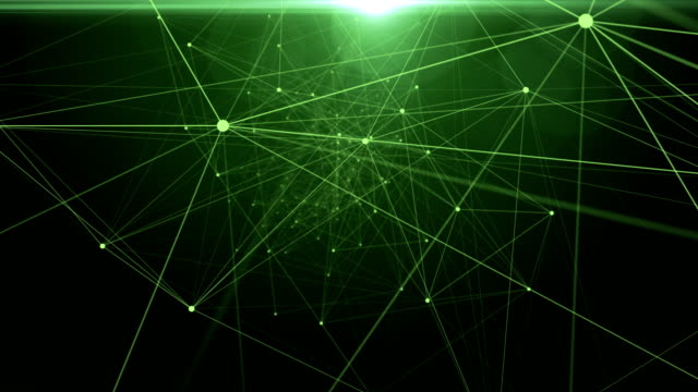 Abstract data connections in space. dots connected on green gradient background video