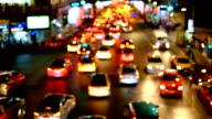 Abstract Defocused of night traffic lights video