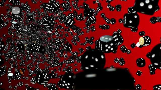 Abstract dice in black on red video