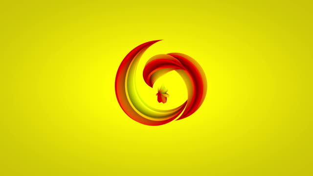 Abstract flower grows on yellow background video