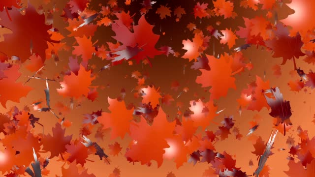 Abstract flying autumn leaves video