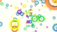 Abstract flying colorful glow circles particles animation video