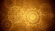 Abstract gears background loopable brown drawing video