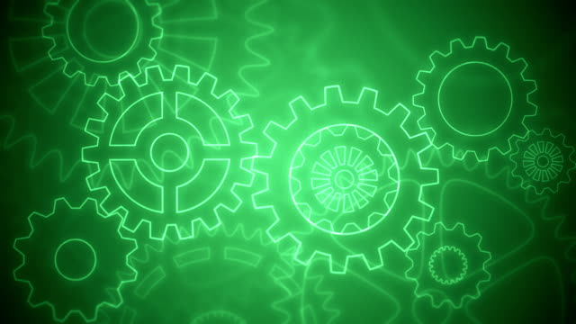 Abstract gears background loopable green drawing video