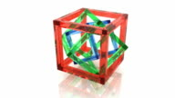 Abstract geometry. Full rotation loop. Red green and blue wire-frame glass cubes within each other video