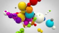Abstract Glossy Balls Looping Background - MultiColoured on Grey video