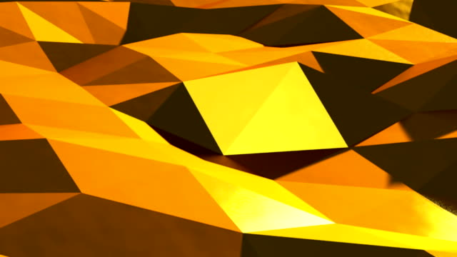 Abstract gold triangular crystalline background animation. Seamless loop video
