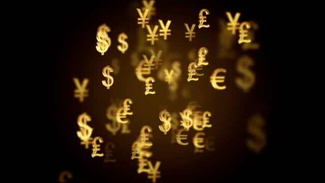 Abstract international currency symbol motion background video