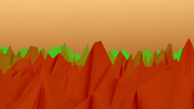 Abstract landscape surface in orange,green and yellow video