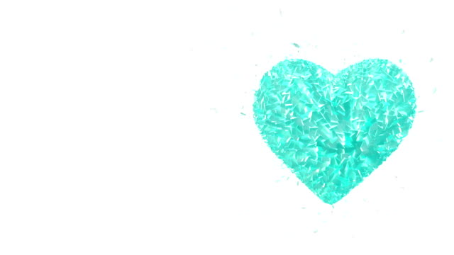 Abstract looped animated background: Rotating luminous 3d frozen heart formed pieces and cubes of light-blue spinning with stray pieces. White background.  Seamless loop. video