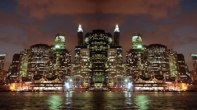 Abstract mirrored NYC skyline video