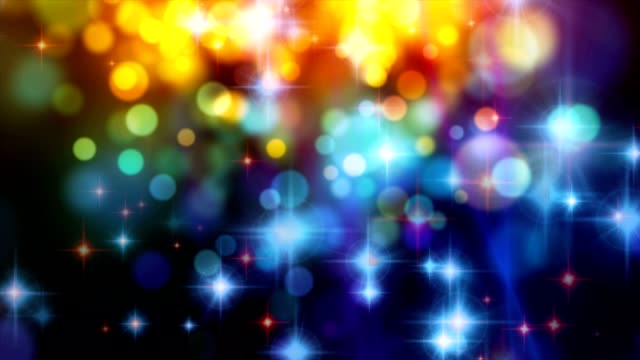 Abstract motion background, shining light, stars, particles, loop. video