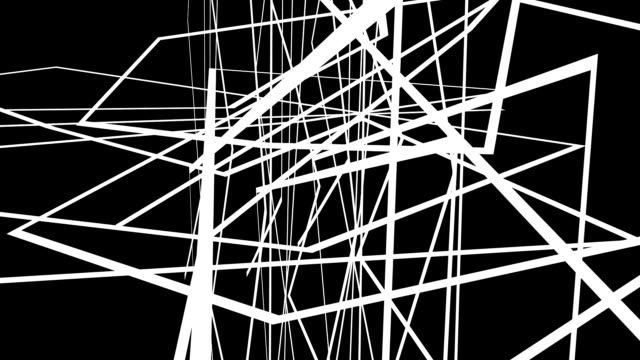 Abstract motion graphics on black background with criss cross white lines video