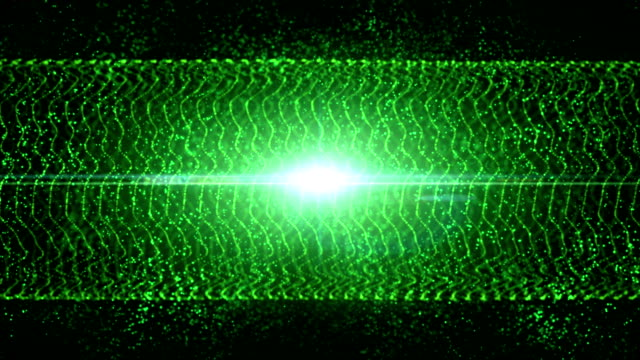 Abstract motion green colors background, shining lights, sparks like particles, seamless loop able video