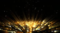 Abstract moving surface. Golden light beams video