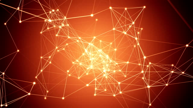 Abstract orange network connection video