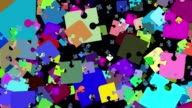 Abstract puzzle pieces in various colors video