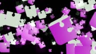 Abstract puzzle pieces in white and purple video