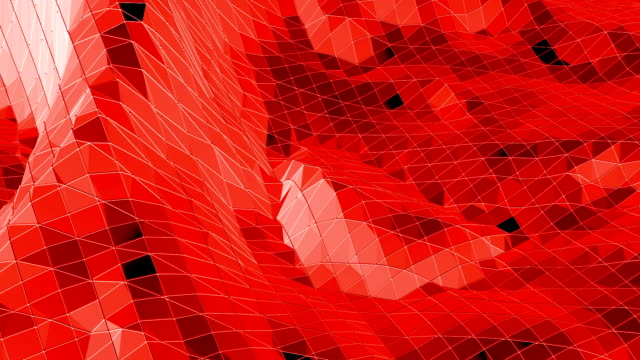 Abstract red low poly surface as crystal grid in stylish low poly design. Polygonal mosaic background with vertex, spikes. Red low poly background waving. Cartoon modern 3D design video