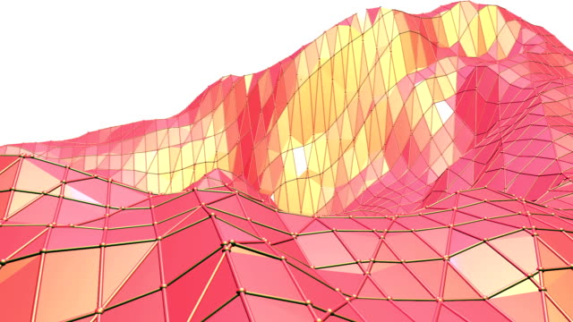 Abstract red low poly surface as glorious background in stylish low poly design. Polygonal mosaic background with vertex, spikes. Red low poly background waving. Cartoon modern 3D design video