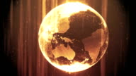 Abstract rotating Earth animation (Golden) video