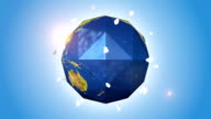 Abstract Shaped Orbiting Blue Globe With Moon video