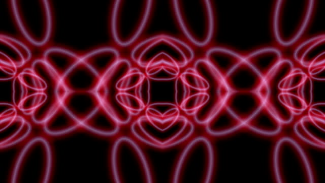 Abstract symbols, circles, ellipses on black background digital animation. seamless looping video