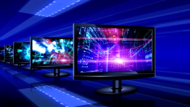 Abstract technological backgrounds on screens of monitors video