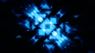 Abstract Technology blue  triangles loopable background footage with light rays video