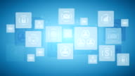 Abstract twinkling icons, communication tech design video animation video