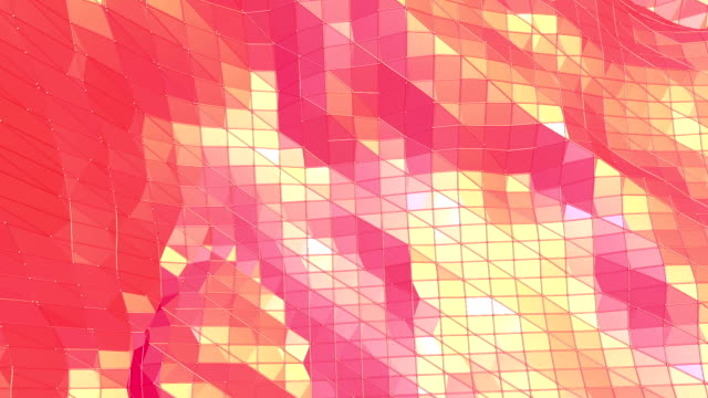 Abstract waving red low poly surface as molecular background in stylish low poly design. Polygonal mosaic background with vertex, spikes. Red low poly background. Cartoon modern 3D design. video