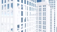 Abstract white high rise building Architectural background Tilt up shot video