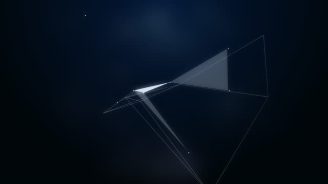 abstraction composition with triangles, lines and dotes: Flying in space video