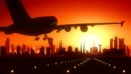 Abu Dhabi Airplane Landing Skyline Golden Background video